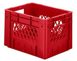 Schwerlast-Euro-Behälter, Polypropylen - Inhalt 23,3 l, LxBxH 400 x 300 x 270 mm, Wände durchbrochen - Boden geschlossen, rot, VE 4 Stk