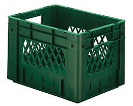 Schwerlast-Euro-Behälter, Polypropylen - Inhalt 23,3 l, LxBxH 400 x 300 x 270 mm, Wände durchbrochen - Boden geschlossen, grün, VE 4 Stk