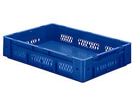 Schwerlast-Euro-Behälter, Polypropylen - Inhalt 20 l, LxBxH 600 x 400 x 120 mm, Wände durchbrochen - Boden geschlossen, blau, VE 2 Stk