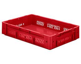 Schwerlast-Euro-Behälter, Polypropylen - Inhalt 20 l, LxBxH 600 x 400 x 120 mm, Wände durchbrochen - Boden geschlossen, rot, VE 2 Stk