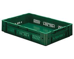 Schwerlast-Euro-Behälter, Polypropylen - Inhalt 20 l, LxBxH 600 x 400 x 120 mm, Wände durchbrochen - Boden geschlossen, grün, VE 2 Stk