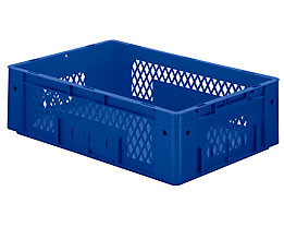 Schwerlast-Euro-Behälter, Polypropylen - Inhalt 31 l, LxBxH 600 x 400 x 175 mm, Wände durchbrochen - Boden geschlossen, blau, VE 2 Stk
