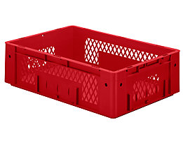 Schwerlast-Euro-Behälter, Polypropylen - Inhalt 31 l, LxBxH 600 x 400 x 175 mm, Wände durchbrochen - Boden geschlossen, rot, VE 2 Stk