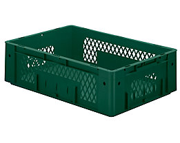 Schwerlast-Euro-Behälter, Polypropylen - Inhalt 31 l, LxBxH 600 x 400 x 175 mm, Wände durchbrochen - Boden geschlossen, grün, VE 2 Stk