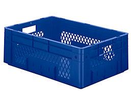 Schwerlast-Euro-Behälter, Polypropylen - Inhalt 38 l, LxBxH 600 x 400 x 210 mm, Wände durchbrochen - Boden geschlossen, blau, VE 2 Stk