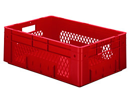 Schwerlast-Euro-Behälter, Polypropylen - Inhalt 38 l, LxBxH 600 x 400 x 210 mm, Wände durchbrochen - Boden geschlossen, rot, VE 2 Stk