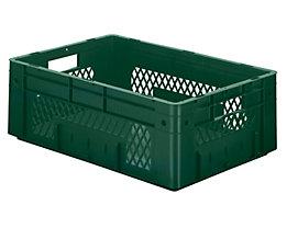 Schwerlast-Euro-Behälter, Polypropylen - Inhalt 38 l, LxBxH 600 x 400 x 210 mm, Wände durchbrochen - Boden geschlossen, grün, VE 2 Stk