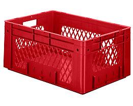 Schwerlast-Euro-Behälter, Polypropylen - Inhalt 50 l, LxBxH 600 x 400 x 270 mm, Wände durchbrochen - Boden geschlossen, rot, VE 2 Stk