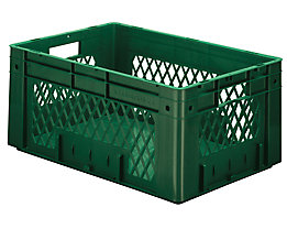Schwerlast-Euro-Behälter, Polypropylen - Inhalt 50 l, LxBxH 600 x 400 x 270 mm, Wände durchbrochen - Boden geschlossen, grün, VE 2 Stk
