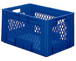 Schwerlast-Euro-Behälter, Polypropylen - Inhalt 60 l, LxBxH 600 x 400 x 320 mm, Wände durchbrochen - Boden geschlossen, blau, VE 2 Stk