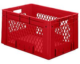 Schwerlast-Euro-Behälter, Polypropylen - Inhalt 60 l, LxBxH 600 x 400 x 320 mm, Wände durchbrochen - Boden geschlossen, rot, VE 2 Stk