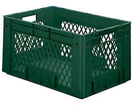 Schwerlast-Euro-Behälter, Polypropylen - Inhalt 60 l, LxBxH 600 x 400 x 320 mm, Wände durchbrochen - Boden geschlossen, grün, VE 2 Stk