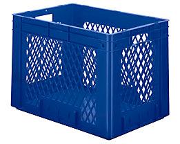 Schwerlast-Euro-Behälter, Polypropylen - Inhalt 80 l, LxBxH 600 x 400 x 420 mm, Wände durchbrochen - Boden geschlossen, blau, VE 2 Stk