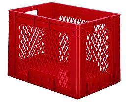 Schwerlast-Euro-Behälter, Polypropylen - Inhalt 80 l, LxBxH 600 x 400 x 420 mm, Wände durchbrochen - Boden geschlossen, rot, VE 2 Stk