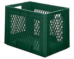 Schwerlast-Euro-Behälter, Polypropylen - Inhalt 80 l, LxBxH 600 x 400 x 420 mm, Wände durchbrochen - Boden geschlossen, grün, VE 2 Stk