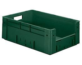 Euro-Stapelbehälter - Inhalt 38 l, Außen-LxBxH 600 x 400 x 210 mm, VE 2 Stk - grün