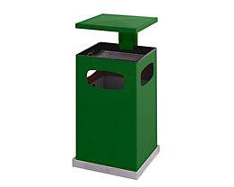 Abfallsammler für außen, mit Aschereinsatz und Schutzdach - Behälterinhalt ca. 80 l - moosgrün