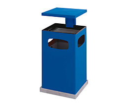 Abfallsammler für außen, mit Aschereinsatz und Schutzdach - Behälterinhalt ca. 80 l - enzianblau