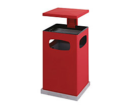 Abfallsammler für außen, mit Aschereinsatz und Schutzdach - Behälterinhalt ca. 80 l - feuerrot