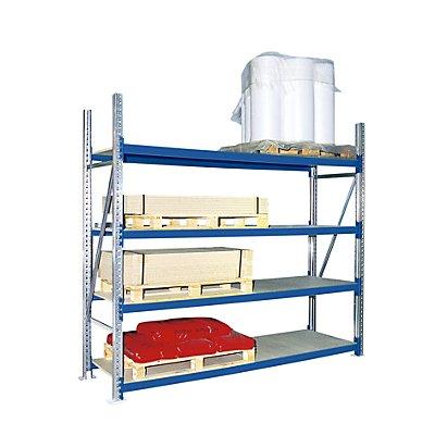 Weitspannregal, mit Spanplattenböden, Höhe 2500 mm - Tiefe 1100 mm, Traversenlänge 1350 mm
