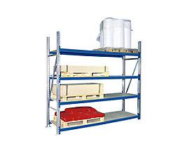 Weitspannregal, mit Spanplattenböden, Höhe 2500 mm - Tiefe 600 mm, Traversenlänge 1800 mm - Grundfeld, blau RAL 5010