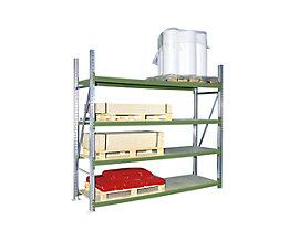 Weitspannregal, mit Spanplattenböden, Höhe 2500 mm - Tiefe 600 mm, Traversenlänge 1800 mm - Grundfeld, grün RAL 6011