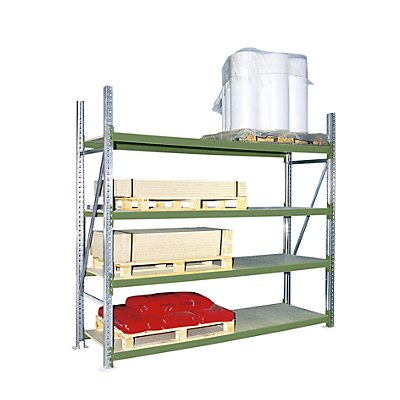 Weitspannregal, mit Spanplattenböden, Höhe 2500 mm - Tiefe 1100 mm, Traversenlänge 2200 mm