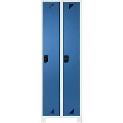 EUROKRAFT Garderobenschrank, Abteilhöhe 1676 mm - HxBxT 1800 x 600 x 500 mm, 2 Abteile - komplett lichtgrau