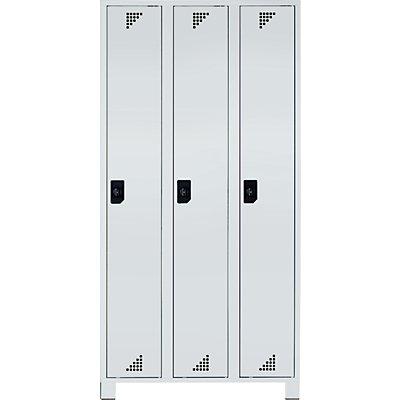 EUROKRAFT Garderobenschrank, Abteilhöhe 1676 mm - HxBxT 1800 x 900 x 500 mm, 3 Abteile