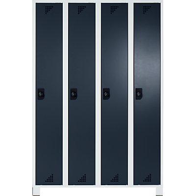 EUROKRAFT Garderobenschrank, Abteilhöhe 1676 mm - HxBxT 1800 x 1200 x 500 mm, 4 Abteile