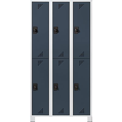EUROKRAFT Garderobenschrank, Abteilhöhe 850 mm - HxBxT 1800 x 900 x 500 mm, 6 Abteile