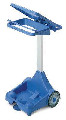 Kunststoff-Pedal-Abfallsackhalter - mobil mit 2 Bockrollen, 2 Standfüße