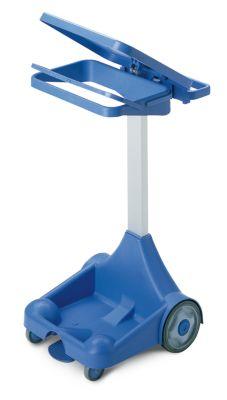 Kunststoff-Pedal-Abfallsackhalter - mobil mit 2 Bockrollen, 2 Lenkrollen