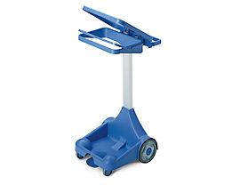 Kunststoff-Pedal-Abfallsackhalter - mobil mit 2 Bockrollen, 2 Lenkrollen - blau