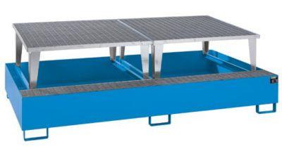 Stahl-Auffangwanne für Tankcontainer - LxBxH 2650 x 1460 x 863 mm, mit 2 Abfüllaufsätzen