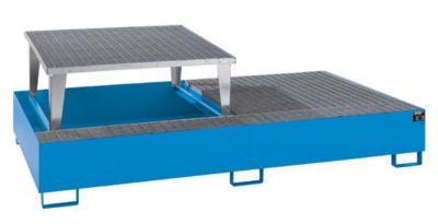 Stahl-Auffangwanne für Tankcontainer - LxBxH 2650 x 1460 x 863 mm, mit 1 Abfüllaufsatz