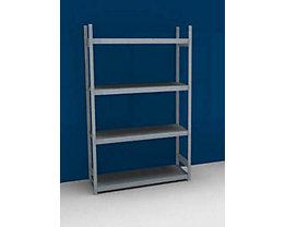 Großfach-Steckregal mit Stahlböden - Höhe 2500 mm, Fachbodenbreite 1500 mm - Fachbodentiefe 500 mm, Grundregal