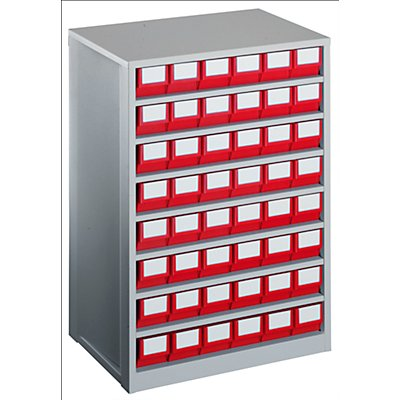 Lockweiler Schubladenmagazin, Gehäuse-Traglast 240 kg - HxBxT 862 x 600 x 417 mm, 48 Schubladen