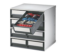 Schubladenmagazin, Gehäuse-Traglast 75 kg - HxBxT 395 x 380 x 300 mm, 8 Schubladen - Schubladen grau