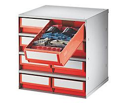 Schubladenmagazin, Gehäuse-Traglast 75 kg - HxBxT 395 x 380 x 300 mm, 8 Schubladen - Schubladen rot