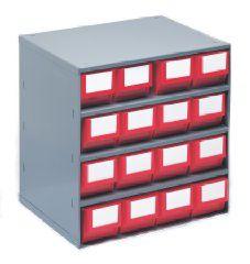 Schubladenmagazin, Gehäuse-Traglast 75 kg - HxBxT 395 x 380 x 300 mm, 16 Schubladen
