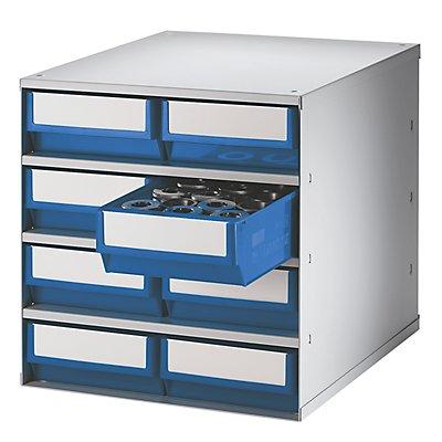 Lockweiler Schubladenmagazin, Gehäuse-Traglast 75 kg - HxBxT 395 x 380 x 400 mm, 8 Schubladen
