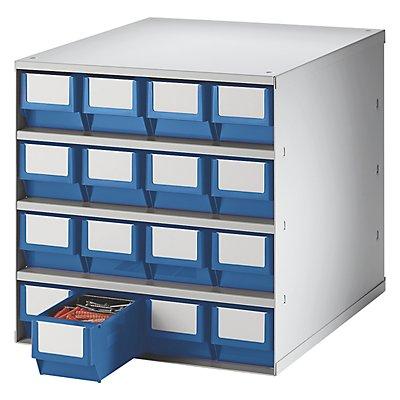 Lockweiler Schubladenmagazin, Gehäuse-Traglast 75 kg - HxBxT 395 x 380 x 400 mm, 16 Schubladen