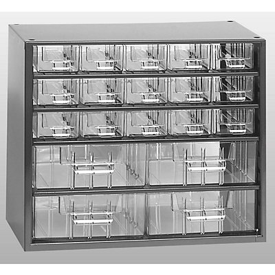 Schubladenmagazin, Schubladen glasklar - HxBxT 282 x 306 x 155 mm, 19 Schubladen