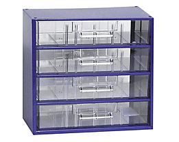 Schubladenmagazin, Schubladen glasklar - HxBxT 282 x 306 x 155 mm, 4 Schubladen