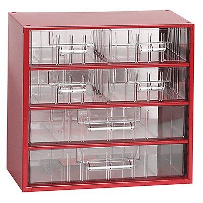 Schubladenmagazin, Schubladen glasklar - HxBxT 282 x 306 x 155 mm, 6 Schubladen