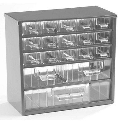 Schubladenmagazin, Schubladen glasklar - HxBxT 282 x 306 x 155 mm, 18 Schubladen