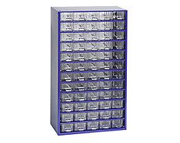 Schubladenmagazin, Schubladen glasklar - HxBxT 551 x 306 x 155 mm, 60 Schubladen - Gehäuse ultramarinblau