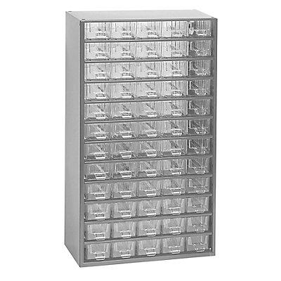 Schubladenmagazin, Schubladen glasklar - HxBxT 551 x 306 x 155 mm, 60 Schubladen