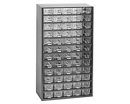 Schubladenmagazin, Schubladen glasklar - HxBxT 551 x 306 x 155 mm, 60 Schubladen - Gehäuse tiefschwarz
